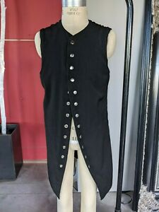 Men's long black vest with silver hardware steampunk Gothic Small tailcoat style