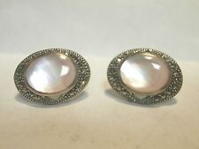 VINTAGE SIGNED MOTHER OF PEARL & MARCASITE 925 W.S. OVAL STUD EARRINGS
