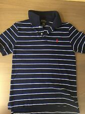 POLO RALPH LAUREN Boy Shirt  Size L 14-16 Navy Blue Striped Short Sleeve Youth