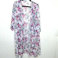 LuLaRoe Womens Shirley Kimono White Pink Floral Print Size Large L Cover Up