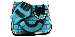 Glitter Saddle Pad Set 3 Piece Matchy Saddle Pad, Brushing Boots, Fly Veil, Blue