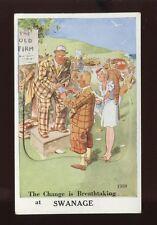 Dorset SWANAGE Breathtaking Novelty Pocket unposted dated 1938 Comic PPC