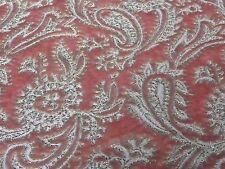 "Vtg French Silk Blend Velvet Pink Silver Lame Fabric Wilmart Paris 36 x 118"""