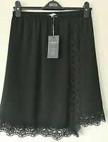 """M&S LIMITED EDITION SIZE 8 21"""" L BLACK PULL ON LINED MOCK WRAP MINI SKIRT"""