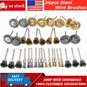 36PCS Steel Brass Wire Brushes Polishing Brush Wheels for Dremel Rotary Die Tool