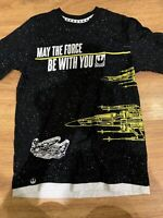 DISNEY STAR WARS T Shirt Youth Sz L May The Force Be With You - Glows in dark!