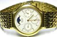 mens Seiko Triple Calendar Moonphase Day Date gold plated watch 7F38-7030 parts