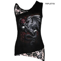 SPIRAL DIRECT Ladies Black Goth DRAGON ROSE Lace Vest/Top All Sizes
