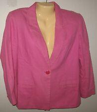 Adolfo Studio - PINK Blazer Linen & Cotton ONE Button Blazer Jacket  Lined - 6P