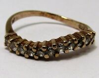 100% Genuine Vintage 9ct Solid Yellow Gold Wave Eternity CZ Ring Sz 3