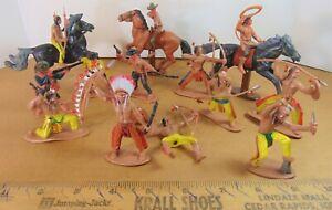 "Junk Drawer Vtg Cowboys & Indians Toy Lot Figures Miniature Plastic Unbranded 3"""