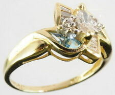 Ladies 14K Yellow Gold 1/2 CT Diamond Topaz Cluster Estate Ring 146001