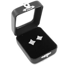 Mens Silver Iced Out 5 Row Concave Kite Cz Micro Pave Butterfly Back Earring