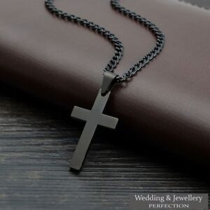 Mens Chain Necklace Black Cross Stainless Steel Pendant Rosary Jesus Men's Love