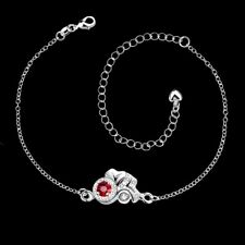 Flower Chain Anklet Bracelet Pa043 925Sterling Solid Silver Jewelry Crystal Red