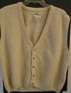 Eddie Bauer Large Wheat Tan Cotton Textured Sweater Vest made in USA