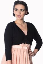 Black Rockabilly Retro Vintage Pinup Bolero Cropped Popcorn Top BANNED Apparel