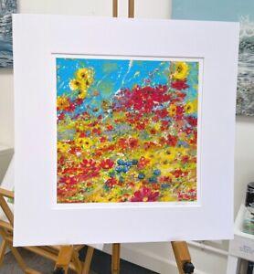 Vibrant flowers, 'Spring has Sprung' print 50x50cm painting by Julia Pankhurst