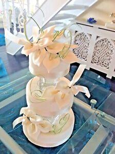WEDDING CAKE SUGAR CALA LILY SET OF 3 IN IVORY,             New