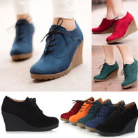 Winter Fall Booties Women Round Toe Lace Up Wedge High Heels Suede Ankle Boots