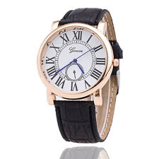 Fashion Mens Womens Geneva leather watch roma design rose gold dial retro casual