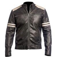New Men's 100% Genuine Lambskin Leather Jacket Motorcycle Biker Cafe Racer Coat