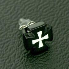 Titan Titanium Ohrstecker Ohrringe Silber Tatzen Eisernes Kreuz schwarz Herren 2