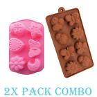 2 Pack Combo Silicone Mold Butterfly Flower candy Ice cube Tray Chocolate Soap