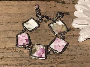 Recycled Broken Porcelain Jewelry, Purple Floral Bracelet, Adjustable