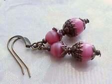 Bubblegum Pink Earrings Czech Glass Civil War Gothic Victorian Art Deco Medieval