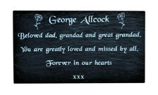 Personalised Engraved Slate Stone Memorial Headstone Grave Marker Plaque Poppys