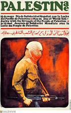 Political cuban poster.Palestinian Heads.Muslim.arab 18.Socialism.World History