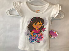 Girls T-Shirt Size 2T Nickelodeon Dora The Explorer White Ruffle Sleeve New