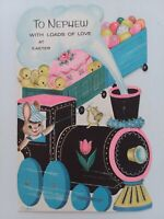 1960s Vtg GLITTER Train EASTER Artist COOPER Bunny CHICKS NEPHEW GREETING CARD