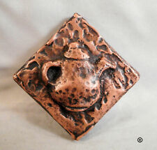 COPPER TEAPOT DECORATIVE TILE DOTS BY METAL TILE ARTS MANUFACTURING (SET OF 3)