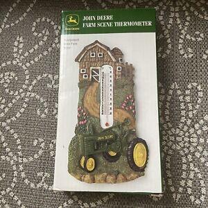 NEW In Box! John Deere Resin Handpainted Resin Thermometer Farm Scene Tractor
