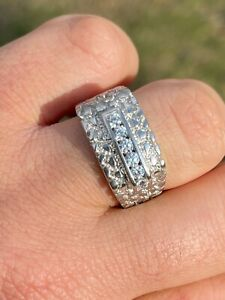 Men's Real Solid Sterling Silver Iced Diamond Nugget Ring Hip Hop Pinky Anillo