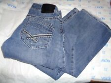 Black MENS $75 destructed JEANS MEDIUM WASH 32W 34L bootcut embroidery pant
