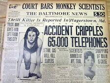 "1925 headline newspaper SCOPES ""Monkey"" TRIAL on THEORY OF EVOLUTION Dayton TENN"