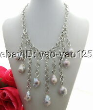 20MM Gray kehsi Baroque Freshwater Pearl Fringle Necklace