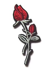 Wild Flower Patch Rose Leaf Embroidered Iron Sew On Patch Peace Hippie red Love