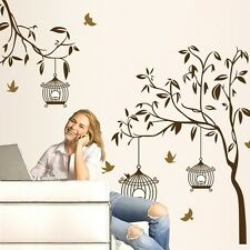 Cage Large Tree Birds PVC Art Wall Stickers Removable Home Decor Wall decals