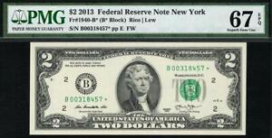 2013* $2 New York Federal Reserve STAR Note FRN 1940-B* • PMG 67 EPQ