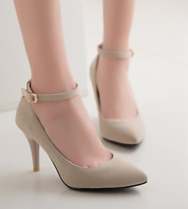 Women High Stiletto Heel Ankle Strap Pointed Toe Casual Sweet Mary Janes Heels