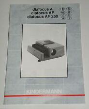 Originale Bedienungsanleitung manual Kindermann diafocus A/AF/AF 250 Anleitung