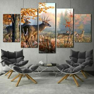 Beautiful Wild Deer Family Forest 5 pcs HD Art Wall Home Decor Canvas Print