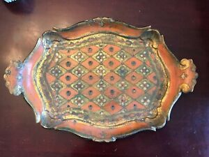 Vintage Hand-Painted Tole Tray