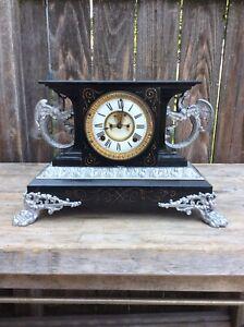 Ansonia Black Mantel Clock, Open Escapement  Belgium model