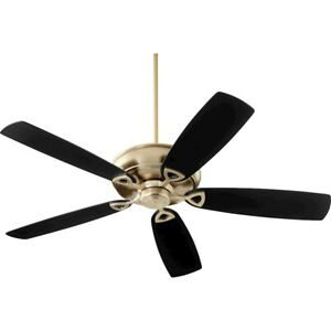 "Quorum Alto 62"" Ceiling Fan, Aged Brass/Black and Walnut Blades - 40625-80"