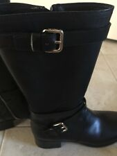 New Prada Black leather Moto Boots - Size 38 (US8) - Never Worn